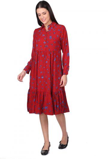 Floral Pattern Gathered Dress - Thumbnail