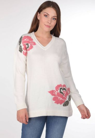 FLORAL V-NECK KNIT SWEATER - Thumbnail
