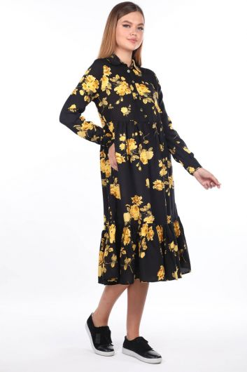 Floral Pattern Midi Dress - Thumbnail