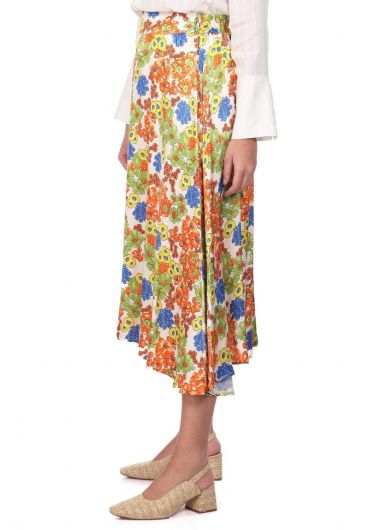MARKAPIA WOMAN - Floral Pattern Satin Midi Skirt (1)