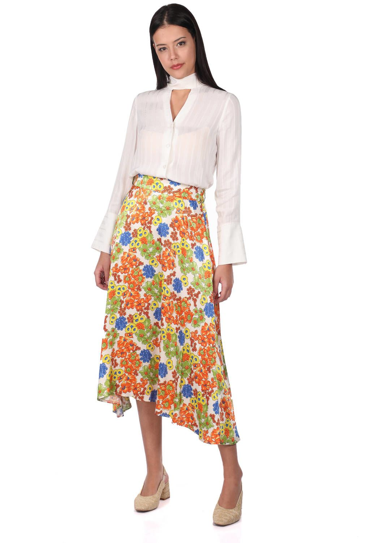 Атласная юбка-миди с цветочным узором