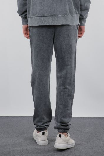 Дымчатые широкие мужские брюки - Thumbnail