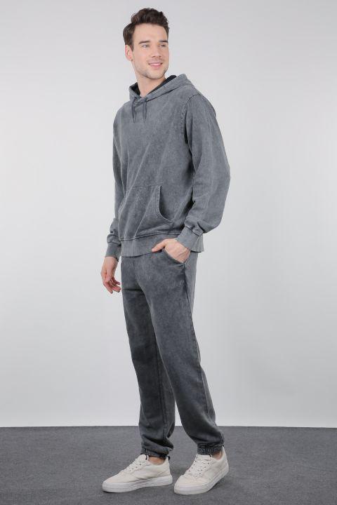 Дымчатые широкие мужские брюки