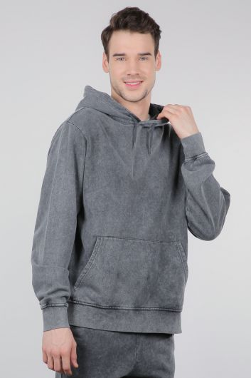 MARKAPIA MAN - Füme Kanguru Cepli Kapüşonlu Erkek Sweatshirt (1)