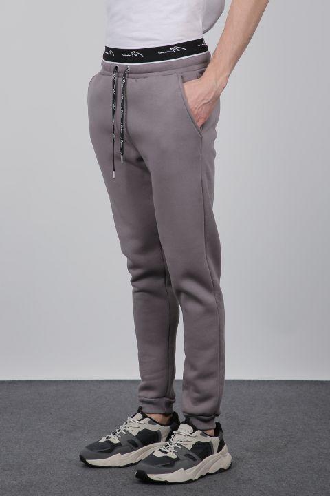 Smoked Sweatpants, Elastic Waistband, Men's Sweatpants