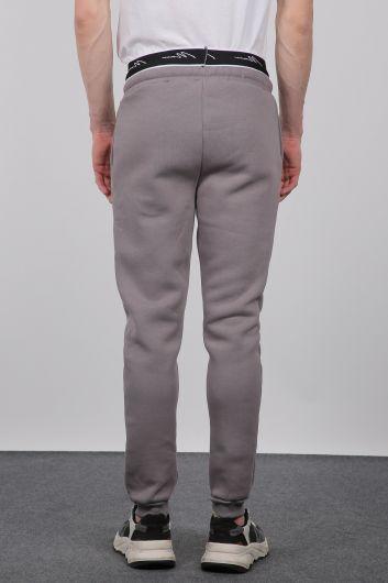Smoked Sweatpants, Elastic Waistband, Men's Sweatpants - Thumbnail