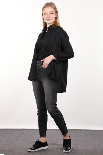 Füme Taş Detaylı Kadın Jean Pantolon - Thumbnail