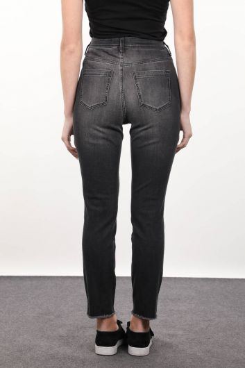 Smoked Stone Detailed Women's Jean Trousers - Thumbnail