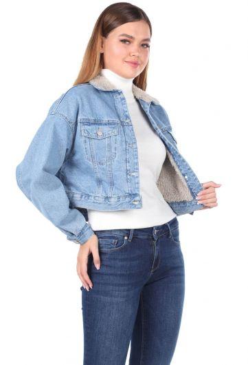 MARKAPİA WOMAN - جاكيت جينز كبير الحجم مع فرو (1)