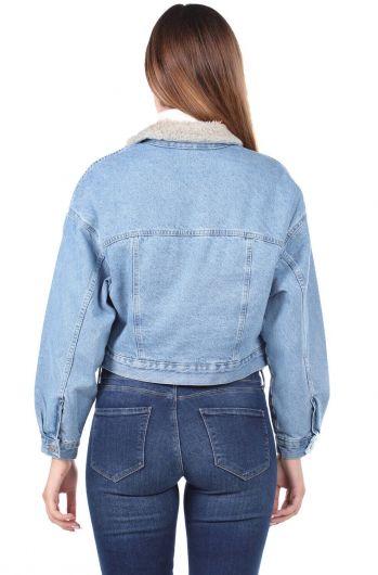 جاكيت جينز كبير الحجم مع فرو - Thumbnail
