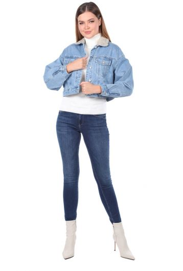 Oversize Denim Jacket With Fur - Thumbnail