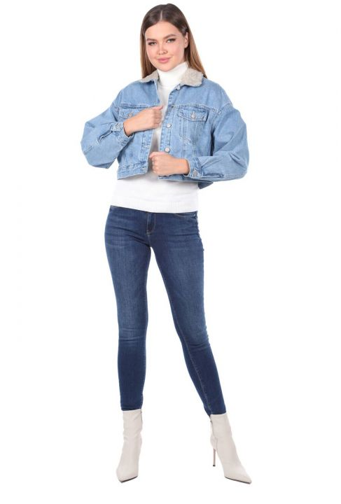 Oversize Denim Jacket With Fur