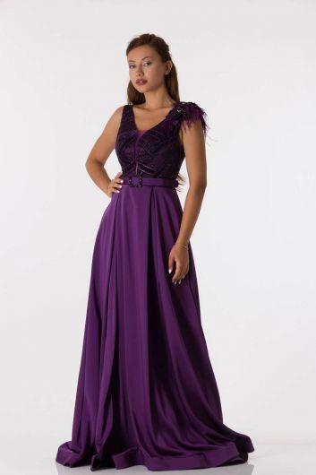 shecca - Длинное фиолетовое вечернее платье с поясом на плечах (1)