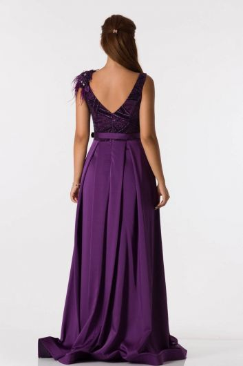 فستان سهرة طويل بنفسجي مع حزام تفاصيل الكتف - Thumbnail