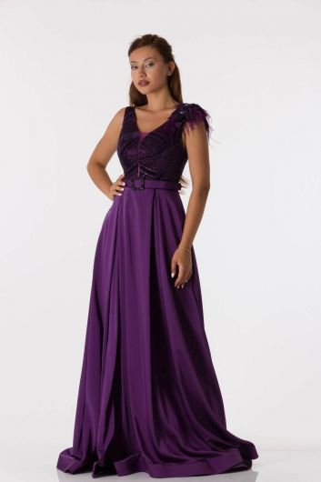 Shecca By Dayi - Long Purple Evening Dress with Shoulder Detail Belt (1)