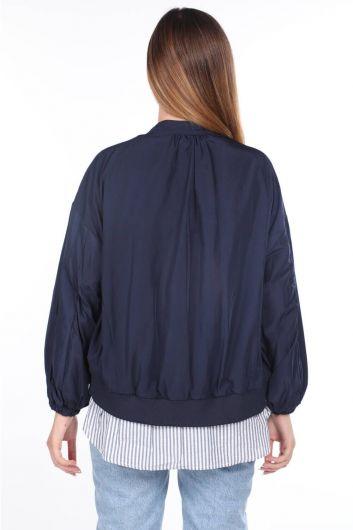 MARKAPIA WOMAN - مقبلات اصطف معطف واق من المطر كبير الحجم للمرأة الأزرق الداكن (1)
