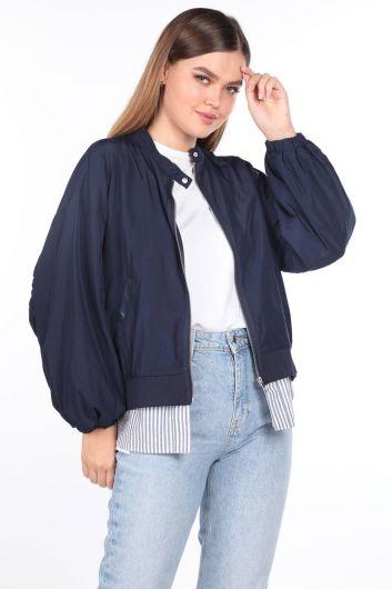 Большой темно-синий женский тренч на подкладке с гарниром - Thumbnail