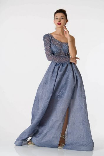 shecca - Fluffy Indigo Engagement Dress With One Sleeve Belt (1)