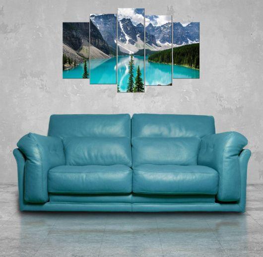 منظر بحيرة الطبيعة 5 قطع لوحة ام دي اف - Thumbnail