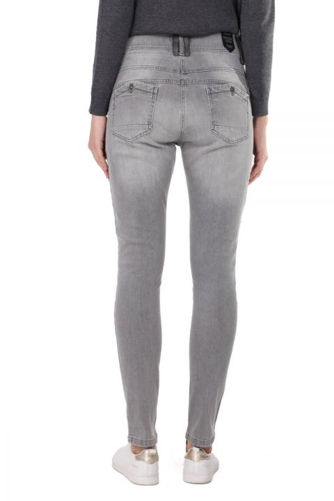 Gray Button Detailed Slim Fit Women's Jean Trousers