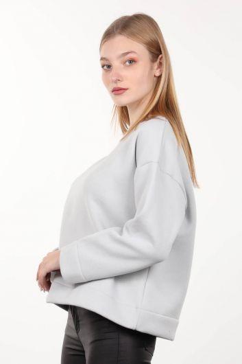 MARKAPIA WOMAN - Серый вязаный женский свитшот с приподнятым вырезом с круглым вырезом (1)