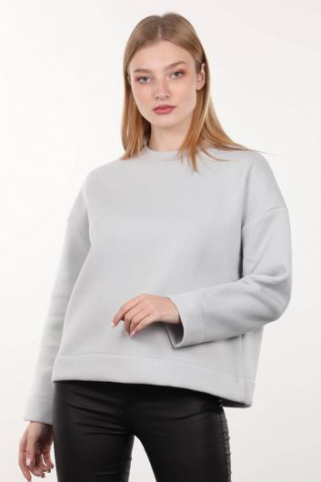Gray Knitted Raised Crew Neck Women's Sweatshirt - Thumbnail