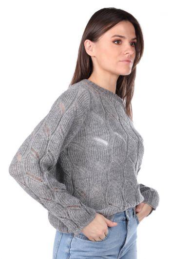 MARKAPIA WOMAN - Серый вязаный женский трикотажный свитер (1)