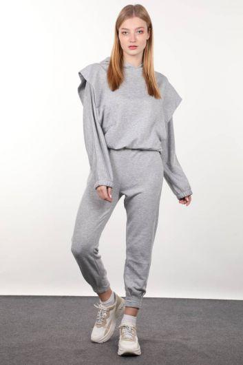 Gray Wadded Hooded Women's Sweatshirt - Thumbnail