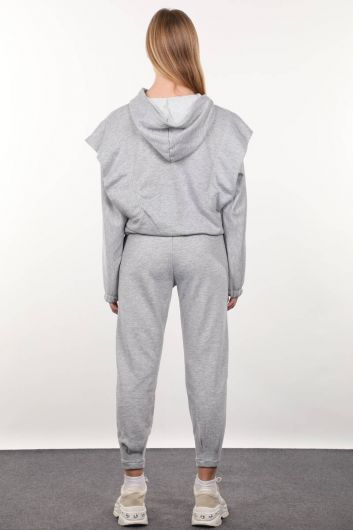 Gray Wadded Hooded Tracksuit Set - Thumbnail