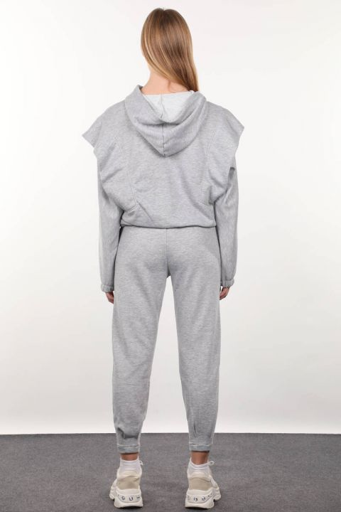 Gray Wadded Hooded Tracksuit Set
