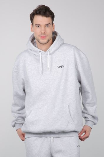 Gray Raised Hooded Men's Sweatshirt - Thumbnail