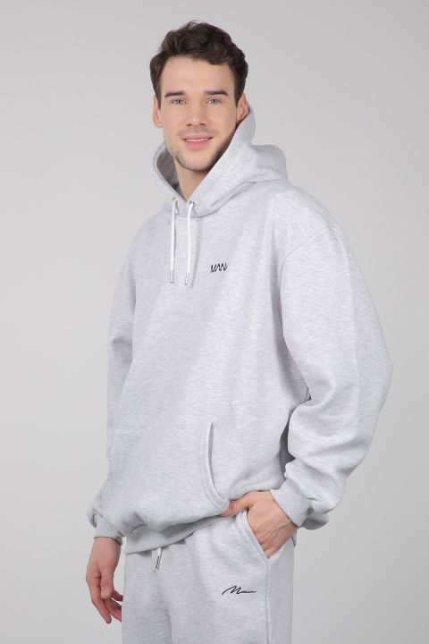Gray Raised Hooded Men's Sweatshirt