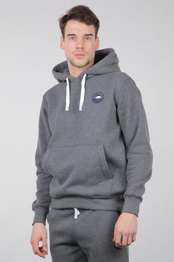MARKAPIA - Gray Raised Kangaroo Pocket Hooded Men's Sweatshirt (1)