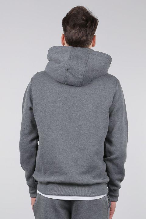 Gray Raised Kangaroo Pocket Hooded Men's Sweatshirt
