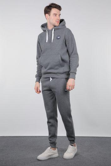 Серый спортивный костюм с капюшоном и карманом-кенгуру - Thumbnail