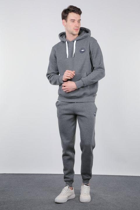 Gray Raised Kangaroo Pocket Hooded Tracksuit Set