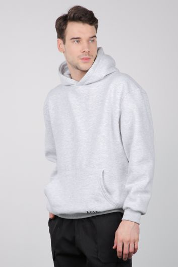 MARKAPIA - Gray Raised Kangaroo Pocket Men's Sweatshirt (1)