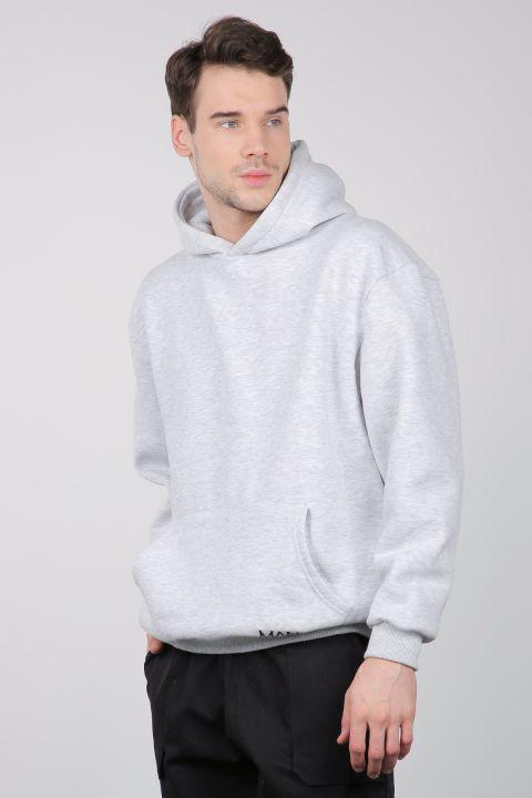 Gray Raised Kangaroo Pocket Men's Sweatshirt