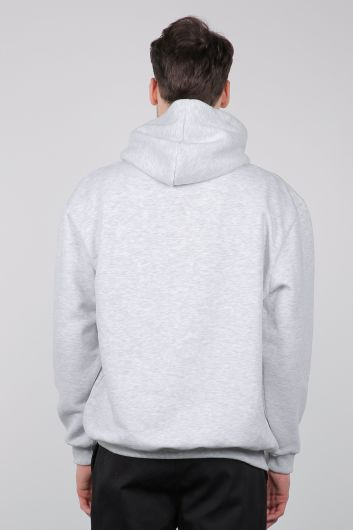 Gray Raised Kangaroo Pocket Men's Sweatshirt - Thumbnail