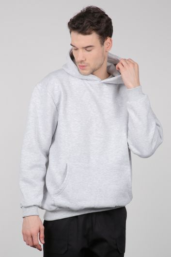 Серая мужская толстовка с карманами-кенгуру - Thumbnail