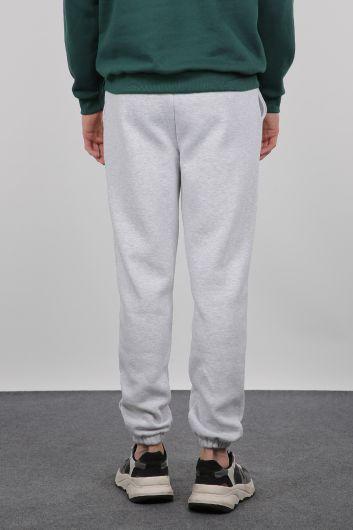 Серые приподнятые брюки с мужскими спортивными штанами на резинке - Thumbnail