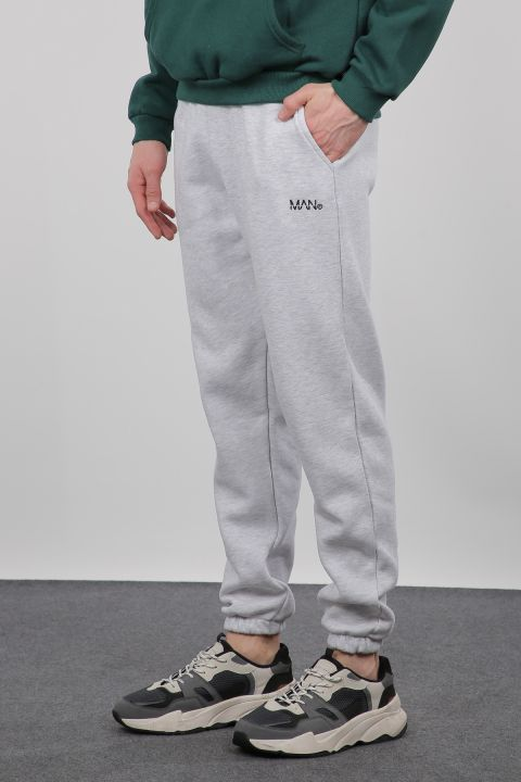 Gray Raised Trousers With Elasticated Men's Sweatpants