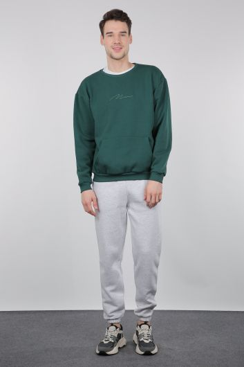 Gray Raised Trousers With Elasticated Men's Sweatpants - Thumbnail