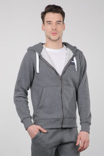 MARKAPIA - Gray Raised Zipper Hooded Men's Sweatshirt (1)
