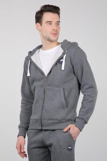 Серый спортивный костюм на молнии с капюшоном - Thumbnail
