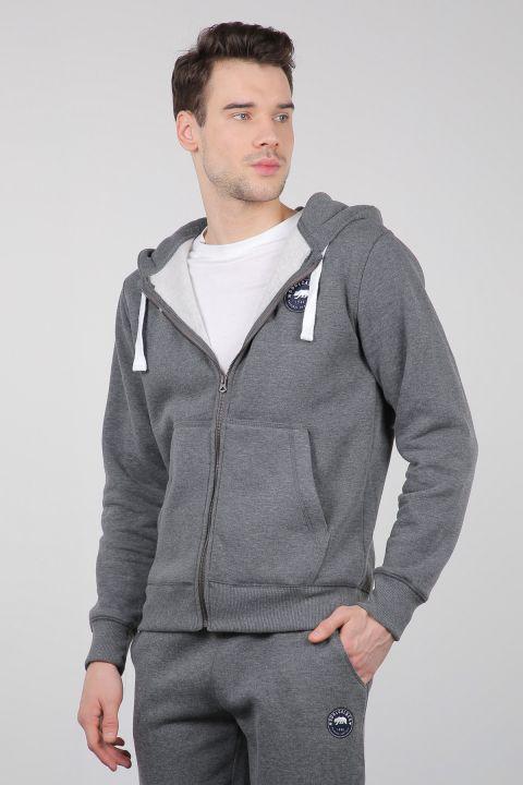 Серый спортивный костюм на молнии с капюшоном