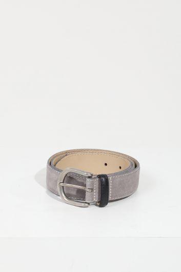Мужской серый замшевый кожаный ремень - Thumbnail