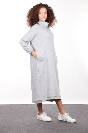 Gray Turtleneck Basic Women's Sweat Dress - Thumbnail