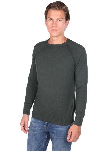 MARKAPIA MAN - Зеленый мужской трикотажный свитер с круглым вырезом (1)