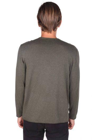 Зеленый мужской свитер с круглым вырезом - Thumbnail